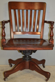 SOLD Mahogany Swivel Tilt Lawyers Office Chair