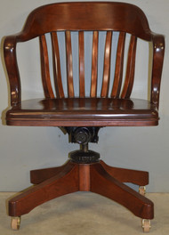 SOLD Antique Mahogany Bankers Lawyers Swivel Tilt Office Chair