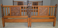 17952 Pair of Oak Carved Unusual Twin Beds
