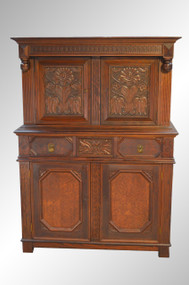 SOLD Carved Oak Bar Cabinet with Flowers