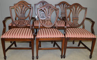 18596 Set of 6 Mahogany Shield Back Dining Chairs – Twin Arms