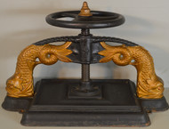 18603 Early Cast Iron Book Press with Dolphin Heads - Rare