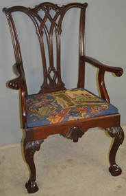 17238 Mahogany Chippendale Centennial Carved Arm Chair w/ Great Needlepoint