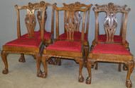 17712 Set of 6 Oak Chippendale Dining Chairs – Rare