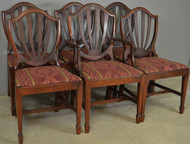 18500 Set of Six Shield Back Hepplewhite Dining Chairs