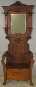 SOLD Carved Oak Victorian Lift Seat Hall Tree