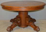 18615 Round Oak Lion Head Claw Foot Banquet Table