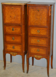 18617 Pair of French Marble Top Boudoir Cabinets