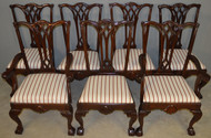 17964 Set of 7 Custom Chippendale Mahogany Dining Chairs
