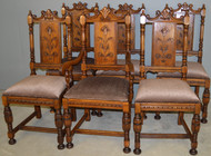 18601 Set of 6 Oak Carved Dining Chairs