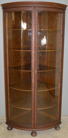 SOLD Oak Victorian Curved Glass Two Door Corner China Closet
