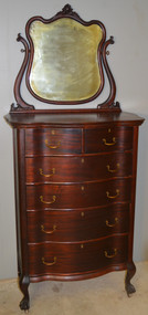 18646 Victorian Mahogany Bevel Mirror Claw Foot Tall Chest