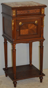 18643 French Marble Top Brass Ormolu Nightstand