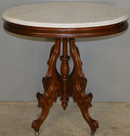 17828 Victorian Oval Marble Top Carved Parlor Stand