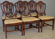 17719 Set of 6 Mahogany Hepplewhite Shield Back Dining Chairs