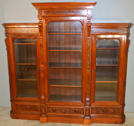 SOLD Antique Victorian Triple Door Burl Walnut Bookcase