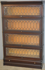 SOLD Mahogany Barrister Leaded Glass Bookcase with Drawer