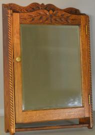 SOLD Oak Carved Rope Twist Bevel Glass Medicine Cabinet