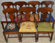 18508 Set of 7 Empire Needlepoint Dining Chairs