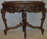 18670 Carved Glass Top Serving Coffee Table