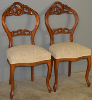 18597 Pair of Stylish Victorian Carved Ladies Chairs
