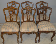 17943 Set of 6 French Carved Parlor Chairs