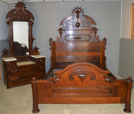18549 Victorian Marble Top Bedroom Suite – Rare Queen Size Bed