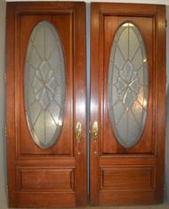 18591 Mahogany Bevel Oval Leaded Doors Double Doorway