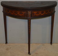 18640 Inlaid Victorian Demi Lune Game Table