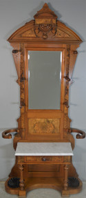 SOLD Victorian Burl Walnut Marble Top Hall Tree