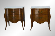 SOLD Pair of Italian Marble Top Serpentine Commodes