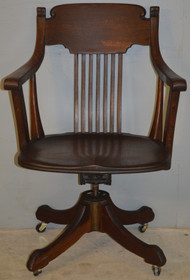SOLD Victorian Tiger Sawn Oak Swivel Tilt Office Chair