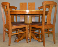 18696 Round Oak Claw Foot Dining Table & 4 Chair Set