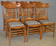 18697 Set of 6 Oak Pressback Dining Chairs