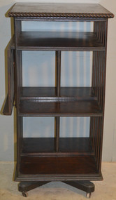 SOLD Oak Revolving Bookcase with Lectern