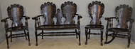 18588 Four Piece Carved Mahogany Parlor Set with Dragons