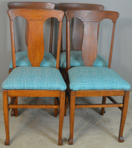 SOLD Set of 4 Tiger Oak Dining Chairs