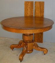 SOLD Victorian Round Oak Carved Dining Table – 2 Leaves