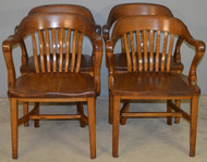 18705 Set of 4 Oak Lawyers Bankers Arm Chairs