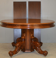 "SOLD Victorian Carved 48"" Banquet Walnut Table"