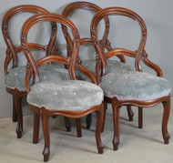 18707 Set of 4 Victorian Carved Parlor Dining Chairs