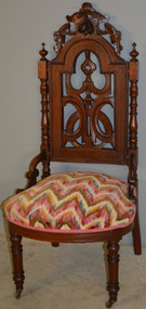 18712 Victorian Walnut Slipper Boudoir Carved Chair