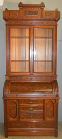18722 Victorian Eastlake Heavily Carved Cylinder Secretary Desk