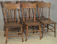 18724 Set of 6 Pressback Dining Chairs with Solid Seats