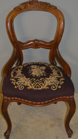 SOLD Victorian Grape and Berry Needlepoint Ladies Chair
