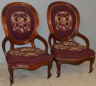 SOLD Pair of Victorian Needlepoint Parlor Chairs