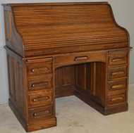 17542 Victorian Oak Raised Panel Roll Top