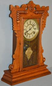 18729 Victorian Carved Oak Mantle Clock – Waterbury