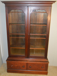 18735 Victorian Step Back Walnut Bookcase-Civil War Era