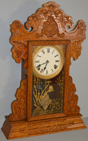 18730 Oak Carved Mantle Clock by Sessions